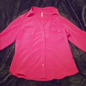 Hot Pink Button Down Blouse